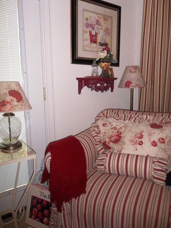 Waverly Slipcover Amp Chair Norfolk Vintage Rose Stripe