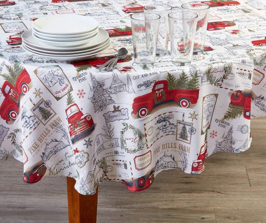 Holiday Red Truck Fabric Round Tablecloth 60 Christmas Red Truck Red Truck Christmas Decoration Storage