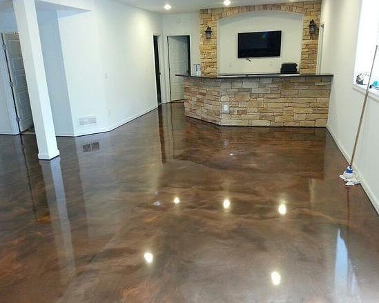 Brown Epoxidkeller Bodenfarbenideen Epoxy Floor Basement