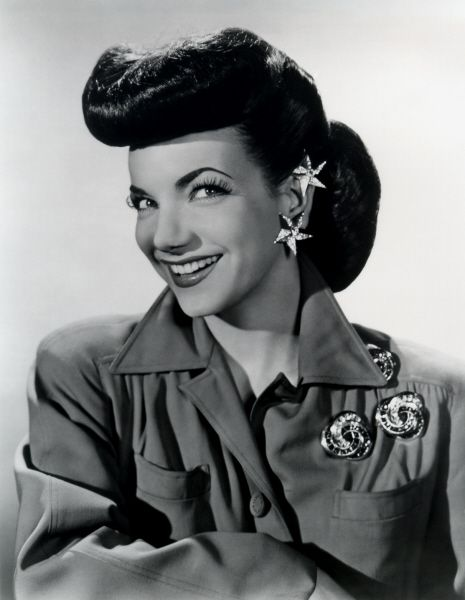 Many women of the 1940's wore a pompadour hairstyle on their wedding day.