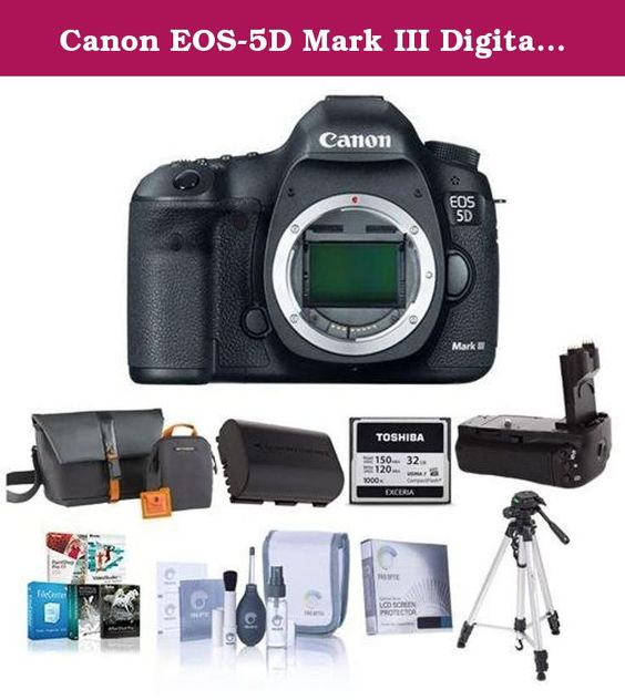 Canon EOS-5D Mark III Digital SLR Camera Body,USA - Bundle with Battery Grip, Camera Bag, Spare Battery, 32GB Compact Flash Card, Screen Protector, Tripod, Cleaning Kit, Pro Software Package. Canon EOS 5D Mark III Pro HDSLR the Long-awaited successor to groundbreaking Canon 5D Mark II The Canon EOS 5D Mark III is an HDSLR designed to build on the unprecedented success of its predecessor, the Canon EOS 5D Mark II. The 5DMII broke new ground in the world of HD video, offering true...