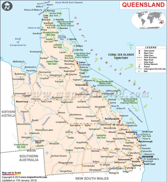 Road Map Of Queensland Queensland Australia