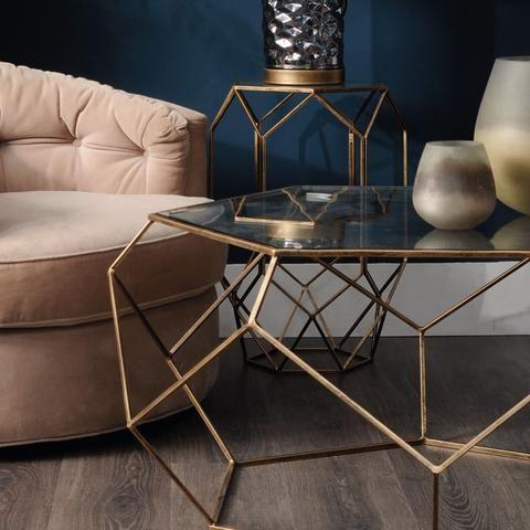 Libra Platonic Geometric Gold Glass Coffee Table Gold Glass