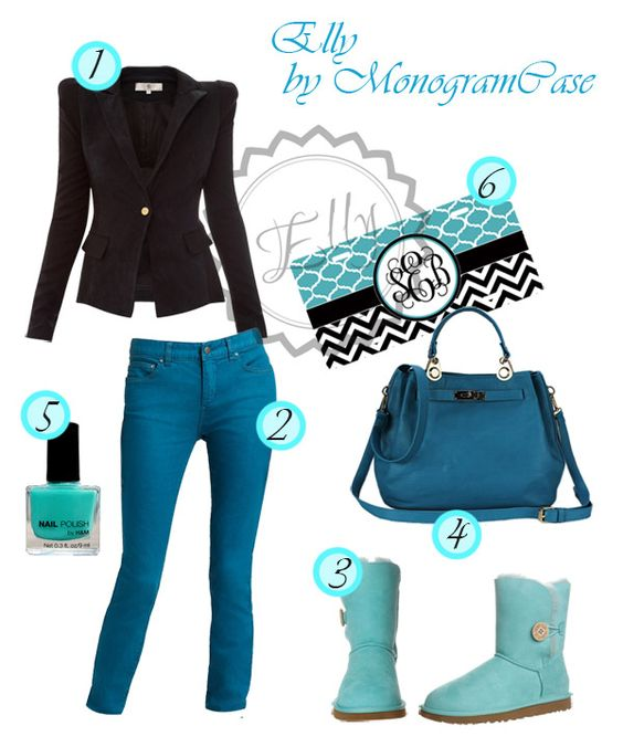 Turquoise set by Elly [MonogramCase] https://www.etsy.com/listing/177178542/custom-license-plate-turquoise-trellis?ref=shop_home_active_15 1. Autumn jacket in black. 2.Turquoise trowsers. 3.Cute boots in same color. 4.A turquoise bag. 5.Turquose manicure, of course! 6.A license plate in the tone of your outfit - turquoise and black cevron with black ribbon and Your initials!