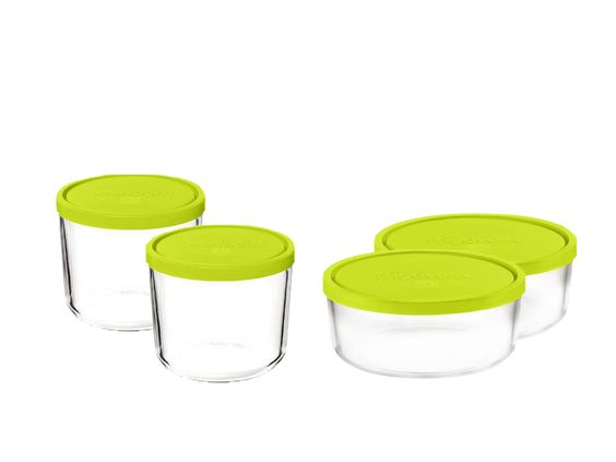 Frigoverre Round Containers (Set of 4) Tempered glass hopefully will look better longer then the plastic ones.