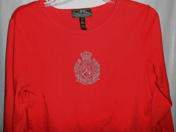 LAUREN ACTIVE RALPH LAUREN Women Sz M -L/S T-Shirt Orange Gold Embroider Crest #RalphLauren #EmbellishedTee