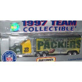 Green Bay Packers NFL Diecast 1997 Matchbox Tractor Trailer Football Team Truck White Rose Collectible Car by NFL  $19.99