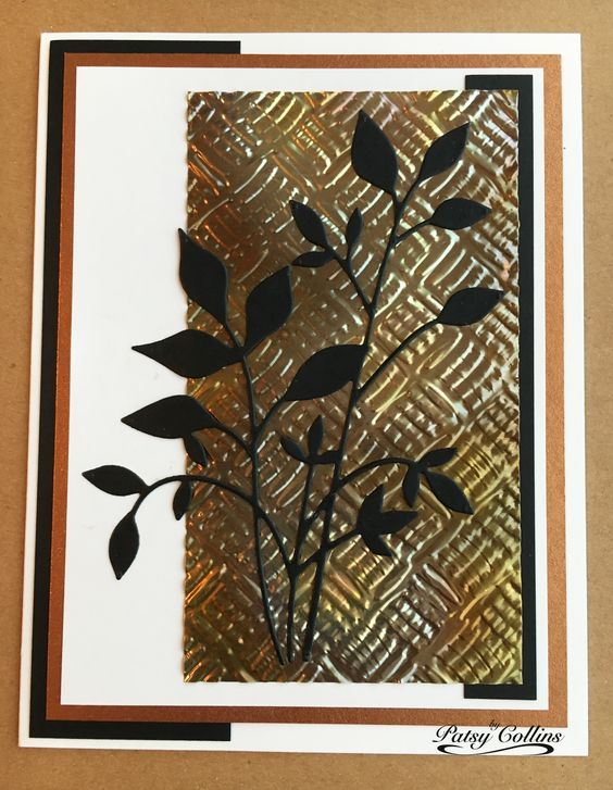 """By Patsy Collins. Attach 5 3/8"""" x 1 1/2"""" black cardstock strip about 1/8"""" from…"""