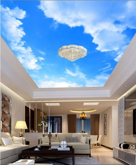 3d Blue Sky White Cloud Cc351 Ceiling Wallpaper Removable Self Etsy In 2020 Blue Ceilings Living Room Design Modern Traditional Wallpaper