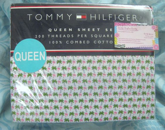 TOMMY HILFIGER 4PC Queen Sheet Set - PALM ISLAND - SO SOFT 100% COMBED COTTON