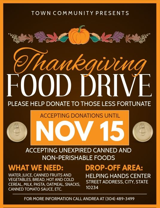 Thanksgiving Food Drive Flyer Food Drive Flyer Food Drive Thanksgiving Recipes