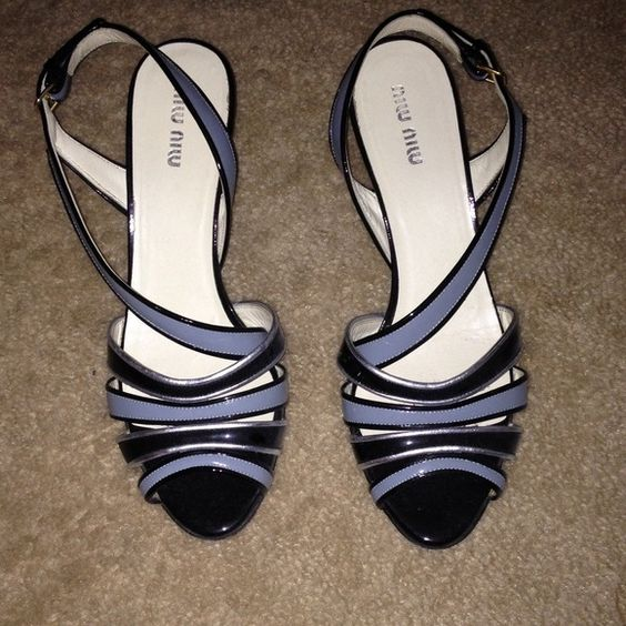 Miu miu slingbacks. Pair of Miu Miu wedged evening shoes. Excellent used condition! Best fit for a US 6.5. miu miu Shoes