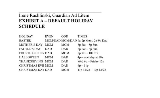 Kentucky Shared Custody Holiday Schedule | Mommys page ...