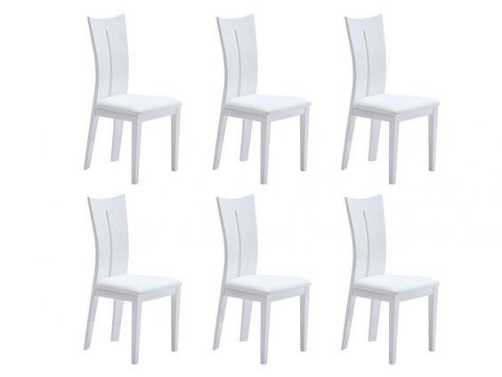 lot de 6 chaises hollis pas cher mdf et simili coloris blanc prix