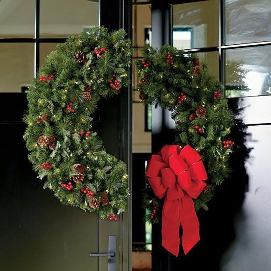 Grandin Road Double Door Christmas Wreath With 100 Pieces Of Warm Lights Doubledoorwreat Double Door Wreaths Double Door Christmas Double Door Christmas Decor