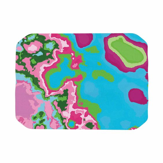 """Empire Ruhl """"Spring Agate Abstract"""" Teal Pink Place Mat"""