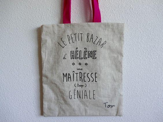 Tote bag (sac fourre-tout) en toile, personnalisé sur commande