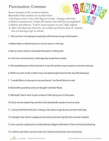 Printables Comma Worksheets comma worksheet pinterest language to work and the beginning worksheets perfect punctuation commas in a series