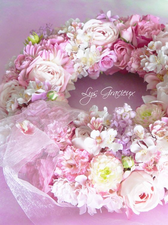 Lys Gracieux, Artificial Flower, Porcelain Art, Porcelarts, Clay Craft, School, Maruyama, Sapporo, Japan, sakura, cherry blossoms wreath, spring, rose, lilac, pink,