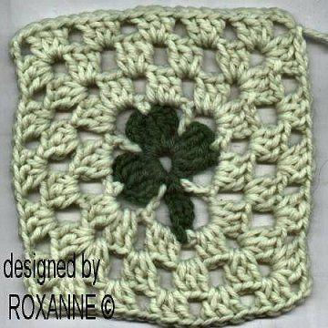free crochet shamrock square pattern