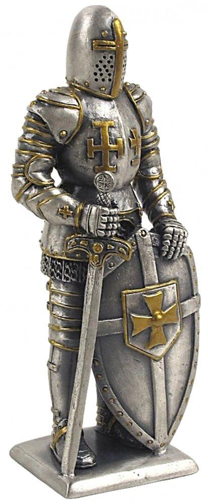 Medieval Pewter Statue - Knight with Sword and Shield ...