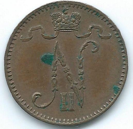COIN MONEY Finland 1898 1 PENNI Nikolai II Copper  https://ajunkeeshoppe.blogspot.com/  1.0P727B413009IMG2257,2258