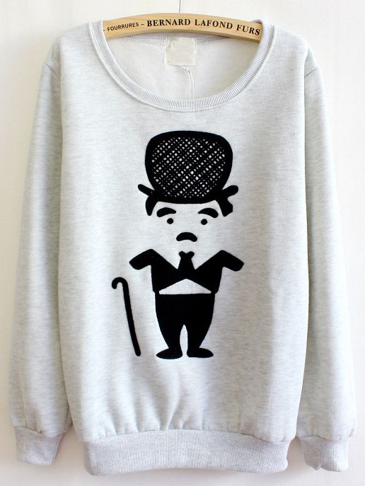 Sudadera Cartoon Chaplin manga larga-Gris 14.94: