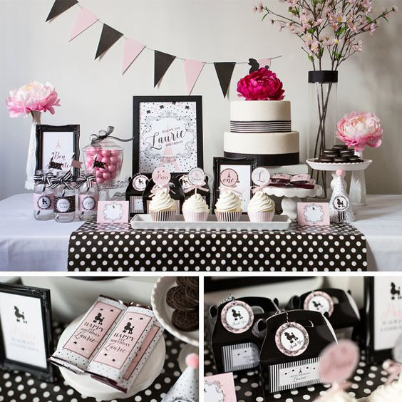 Paris Birthday, Paris Party Kit, Paris, Pink and Black Paris Theme:
