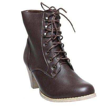 SHORT BOOTS LOW HEELOzsale14440-Brown