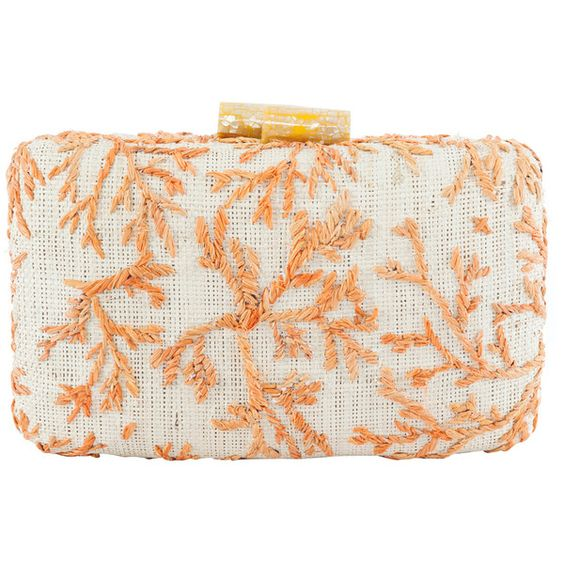 Paraiso Orange Coral Embroidered Clutch Kayu ($185) ❤ liked on Polyvore featuring bags, handbags, clutches, embroidery handbags, orange clutches, kayu, embroidery purse and coral clutches