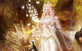 ragazza, ornamentazione, Farfalle, foresta, vestire