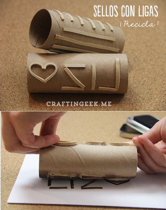 Utiliza ligas y tubos de papel de baño para hacer unos sellos ...