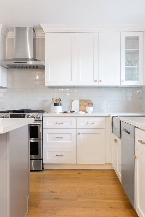 White And Gray Transitional Kitchen Remodel In 2020 Kitchen Remodel Kitchen Cabinets Grey And White White Modern Kitchen