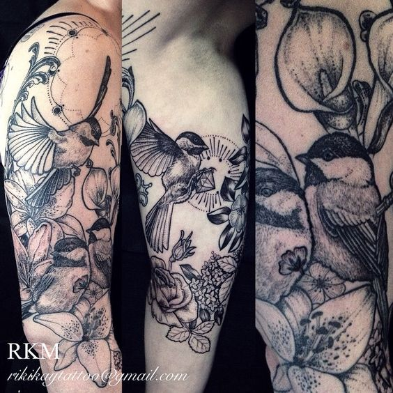 Ah so jealous of this chickadee half sleeve arm tattoo for Ftw tattoo meaning