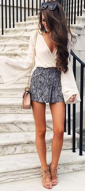 #summer #preppy #outfits |  White Blouse + Patterned Shorts