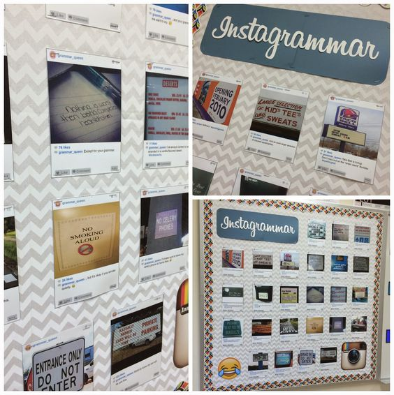 Back to School bulletin board! Instagrammar: Instagram inspired bulletin board using photos of grammar mistakes, photoshop and a color printer. Font is Billabong.