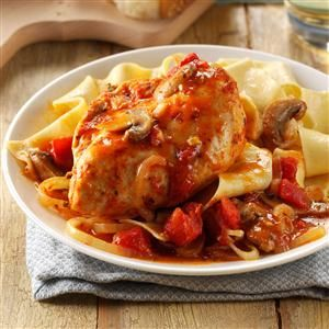 Contest-Winning Chicken Cacciatore Recipe- Recipes  My husband and I operate a very busy farm. There are days when there's just no time left for cooking. It's really nice to be able to come into the house at night and smell this chicken cacciatore meal simmering—dinner is a simple matter of dishing it up. It's very easy to make, but it's also special enough to serve when company comes to call. —Aggie Arnold-Norman, Liberty, Pennsylvania