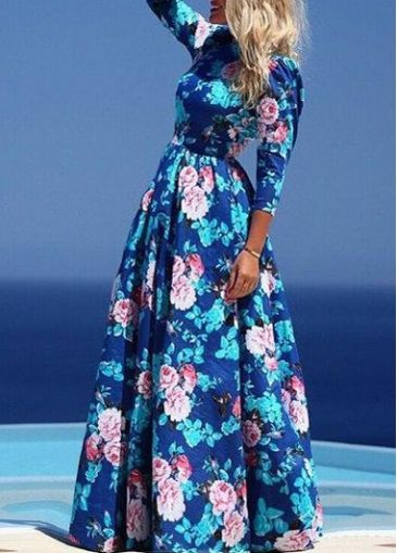 Navy Blue Round Neck Floral Printed Maxi Dress on sale only US$18.51 now, buy cheap Navy Blue Round Neck Floral Printed Maxi Dress at modlily.com