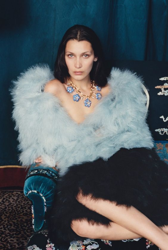 Bella Hadid wears a bold fur look from Armani Prive