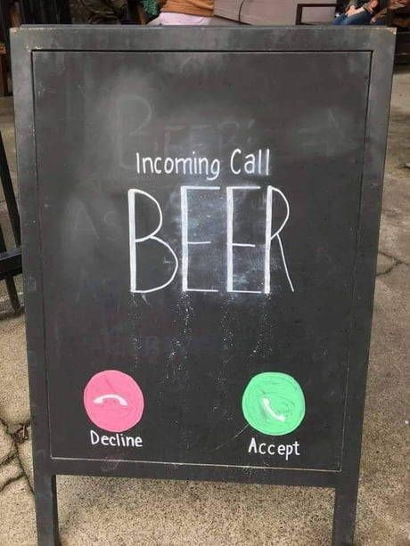incoming call, a funny creative restaurants chalkboard sing example