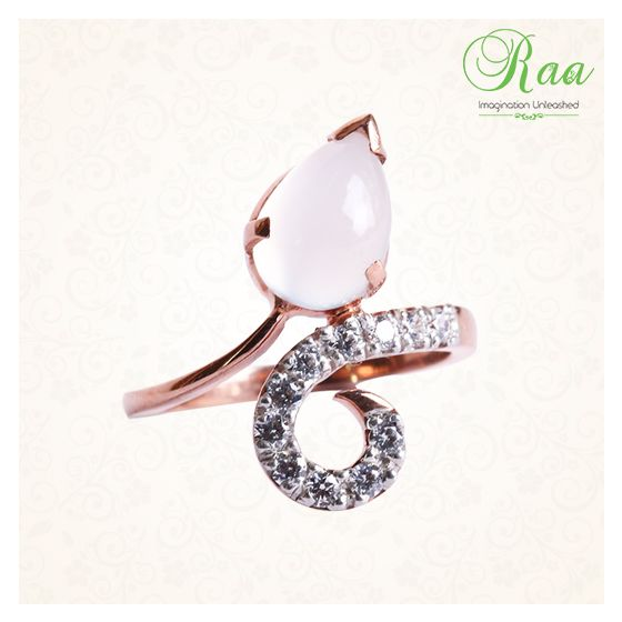 Why not to gift her with glistening pink gold ring with diamonds and moonstone which makes them feel more special