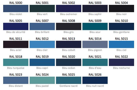 nuancier bleu ral colours pinterest. Black Bedroom Furniture Sets. Home Design Ideas