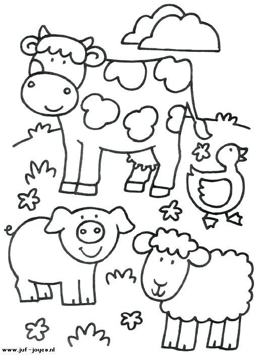 Black And White Coloring Pages Of Group Of Farm Animals