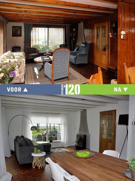 Woonkamer voor en na meubelverhuur woning in ens voor en na pinterest - Voor na gerenoveerd huis ...