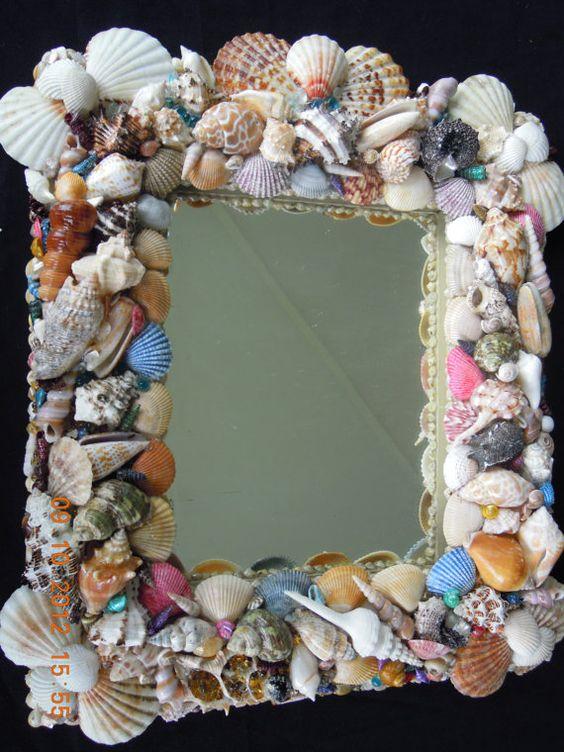 Sea shells mosaic mirrors and shells on pinterest for Seashell mosaic art