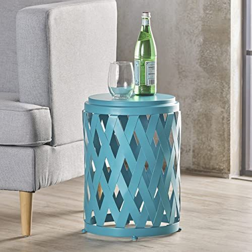 The Christopher Knight Home Perciad Indoor 12 Inch Diameter Lattice Matte Teal Iron Side Table Online Shopping In 2020 Faux Marble Coffee Table Coffee Table Metal Frame Living Room Side Table