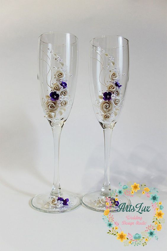 Wedding champagne glasses in ivory and purple-Wedding by ArtsLux