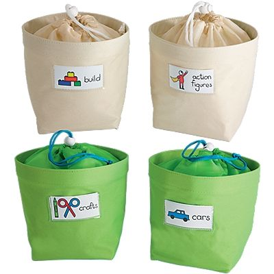 Small Drawstring Canvas Toy Storage Bag 2-Pack! You'll find endless ways to round up toys, in our rounded canvas toy storage bags! Keep play set pieces neatly sorted...bring one along on toy pick-up duty...use them to transport travel toys.