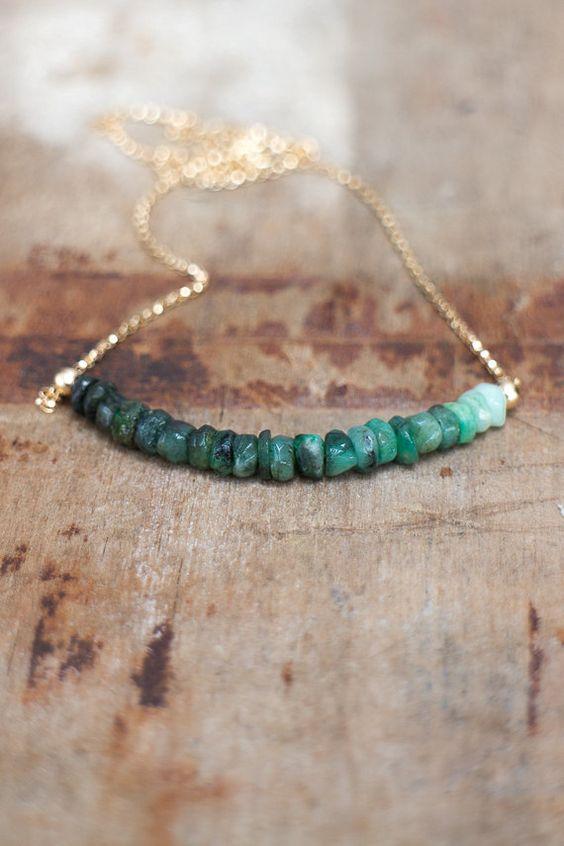 Raw Emerald Necklace May Birthstone Emerald by AbizaJewelry