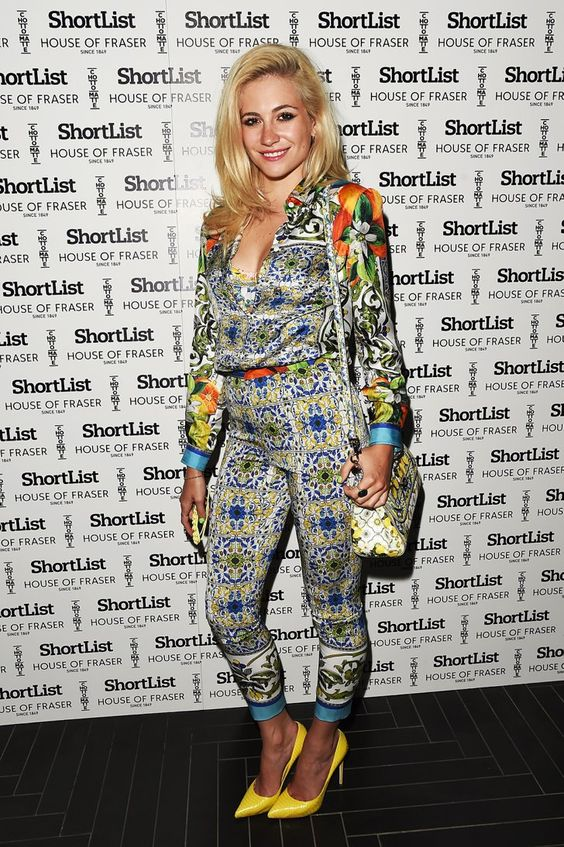 Pin for Later: Can You Top Pixie Lott's Most Extreme 2014 Fashion Moments?  For a party at the close of London Collections: Men, Pixie slipped into a satin two-piece with yellow heels.